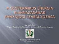 A geotermikus energia kiaknázásának bányajogi szabályozása