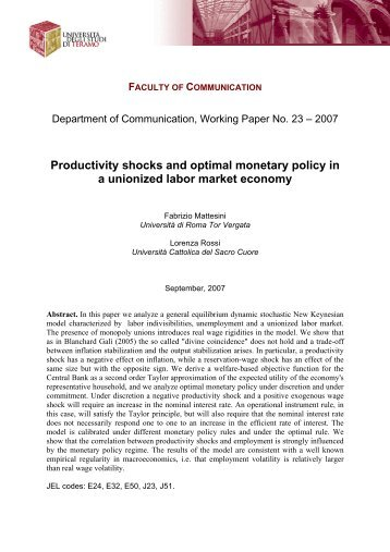 Productivity shocks and optimal monetary policy in a unionized labor ...