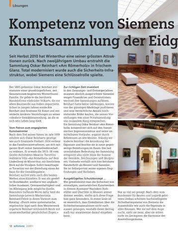 Kompetenz von Siemens Kunstsammlung der Eidg - Hellwach