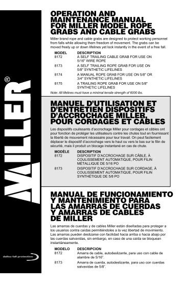 operation and maintenance manual for miller model rope grabs and ...