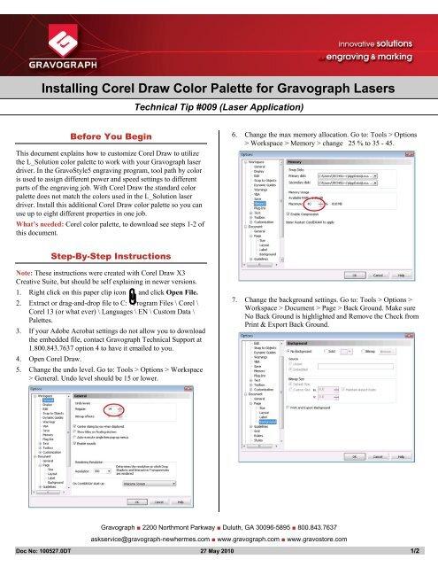 Installing Corel Draw Color Palette for Gravograph Lasers