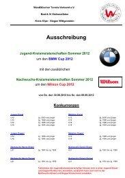 Ausschreibung Kreismeisterschaften 2012 - TC Wilgersdorf