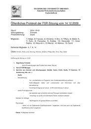Öffentliches Protokoll der FSR-Sitzung vom 14.12.2009