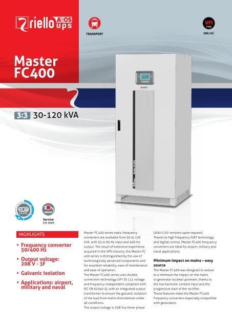 Master FC400 - Frequency Converter - Riello UPS