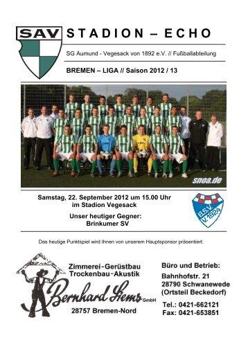 Stadion-Echo vom 22.09.2012 - sav-fussball.de