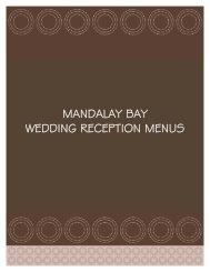 MANDALAY BAY WEDDING RECEPTION MENUS