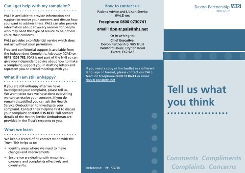 Tell Us What You Think Devon Partnership Nhs Trust