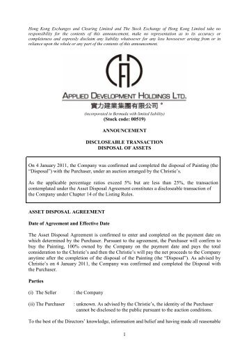 Announcement of Discloseable Transaction - Disposal of Assets
