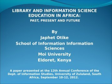 LIBRARY AND INFORMATION SCIENCE ... - Moi University