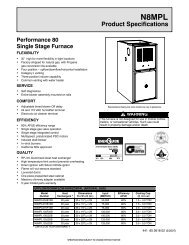 N8MPL 80% Gas Furnace Performance Single Stage Spec Sheet