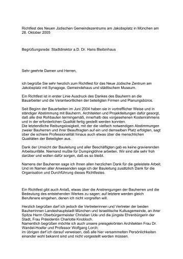 Dr. Hans Bleibinhaus - Jüdisches Zentrum Jakobsplatz