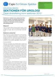 Verksamhetsblad Urologisektionen - Capio S:t Görans Sjukhus