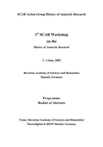 SCAR Action Group History of Antarctic Research 1