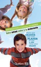 Votre enfant entre à la maternelle - Ministère de l'Éducation, du ...