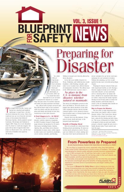 Preparing for Disaster - Florida Alliance for Safe Homes