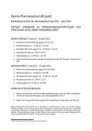 Bokslutskommunké Maj 2012 - April 2013 - Oasmia