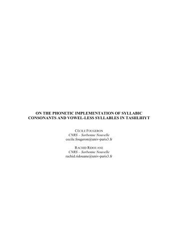 on the phonetic implementation of syllabic consonants and ... - Raco