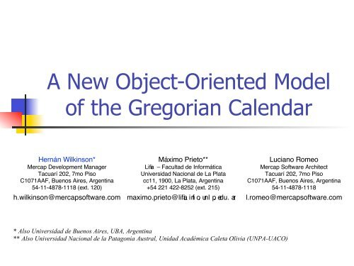 A New Object-Oriented Model of the Gregorian Calendar - ESUG
