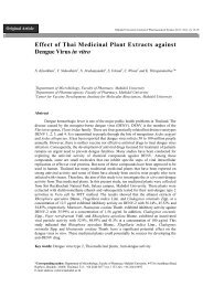 Effect of Thai Medicinal Plant Extracts against Dengue Virus in vitro