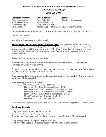 June 22, 2010 Meeting Minutes - Fayette County Soil & Water ...