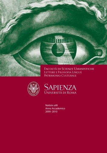 Facoltà di Scienze Umanistiche - Notizie utili A.A. 2009 -2010