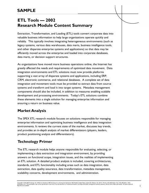 ETL Tools — 2002 Research Module Content Summary SAMPLE