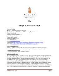 Joseph A. Buckhalt, Ph.D. - College of Education - Auburn University