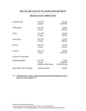 Digital Data Price List - Delaware County