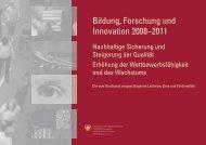 Bildung, Forschung und Innovation 2008-2011; Leitlinien, Ziele