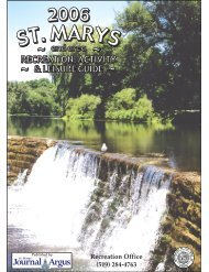 Recreation Office (519) 284-4763 - Town of St. Marys