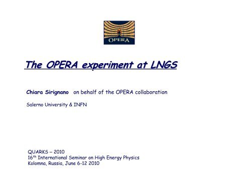The OPERA experiment at LNGS - Infn