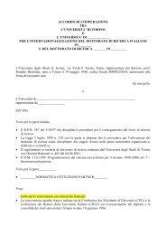 Modello di accordo suggerito per i progetti di didattica di 3° livello