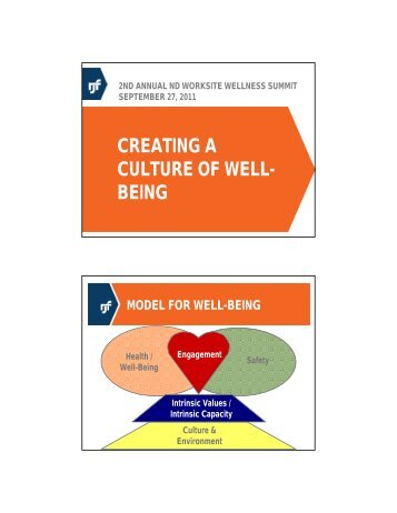 CREATING A CULTURE OF WELL- BEING - Worksite Wellness