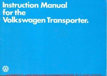 Download 1980 Volkswagen VW Transporter / Caravelle Instruction ...