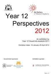 An exhibition by Year 12 Visual Arts students 2011 - Art Gallery of ...