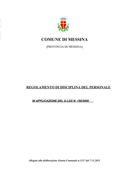 Regolamento di Disciplina del Personale - Comune di Messina