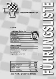 Tabelle - Schweizer Schachbund