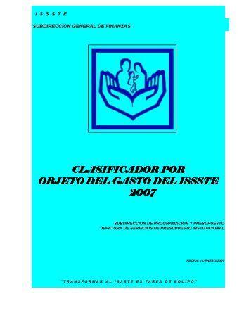 clasificador por clasificador por objeto del gasto del issste objeto del ...