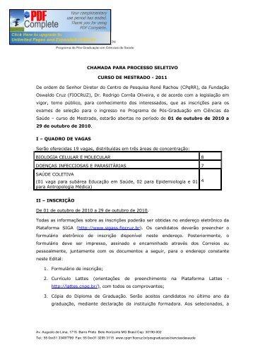CHAMADA PARA PROCESSO SELETIVO CURSO DE MESTRADO ...