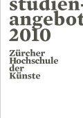 hdk studienangebot 2010 - Zürcher Hochschule der Künste - Page 3