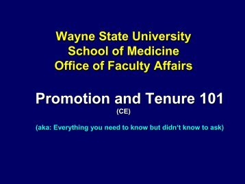 Promotion and Tenure 101 - Faculty Affairs - Wayne State University
