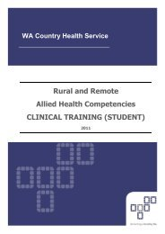 Rural and Remote Allied Health Competencies - Clinical Training