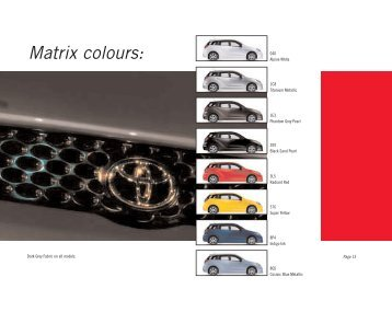 Matrix colours - Toyota Canada
