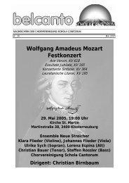 Wolfgang Amadeus Mozart Festkonzert - Schola Cantorum