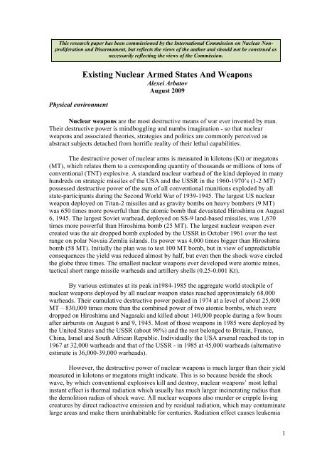 Existing Nuclear-Armed States and Weapons - International ...
