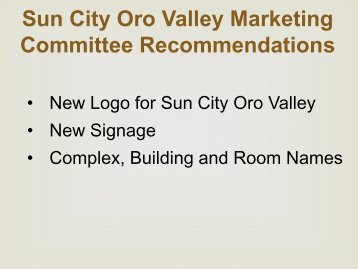 Room Name Change Recommendations - Sun City Oro Valley
