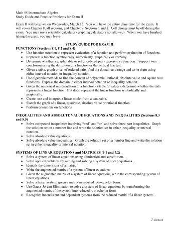 intermediate algebra u20ac u201c practice test exam 2 rh yumpu com intermediate algebra study guide answers Algebra for 7th Grade and 6th Grade Study Guide