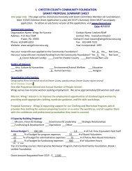i. chester county community foundation grant proposal summary sheet