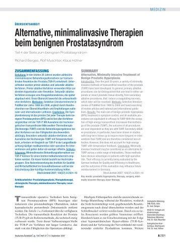 Alternative, minimalinvasive Therapien beim benignen ...