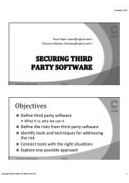 Securing Third Party Software - Secure Application Development
